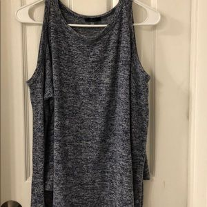 A blue and gray heatherd off the shoulder top